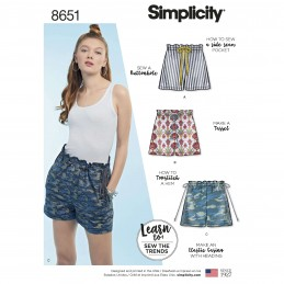 b108a55bd669 Simplicity Sewing Pattern 8651 Learn to Sew Pull on Shorts