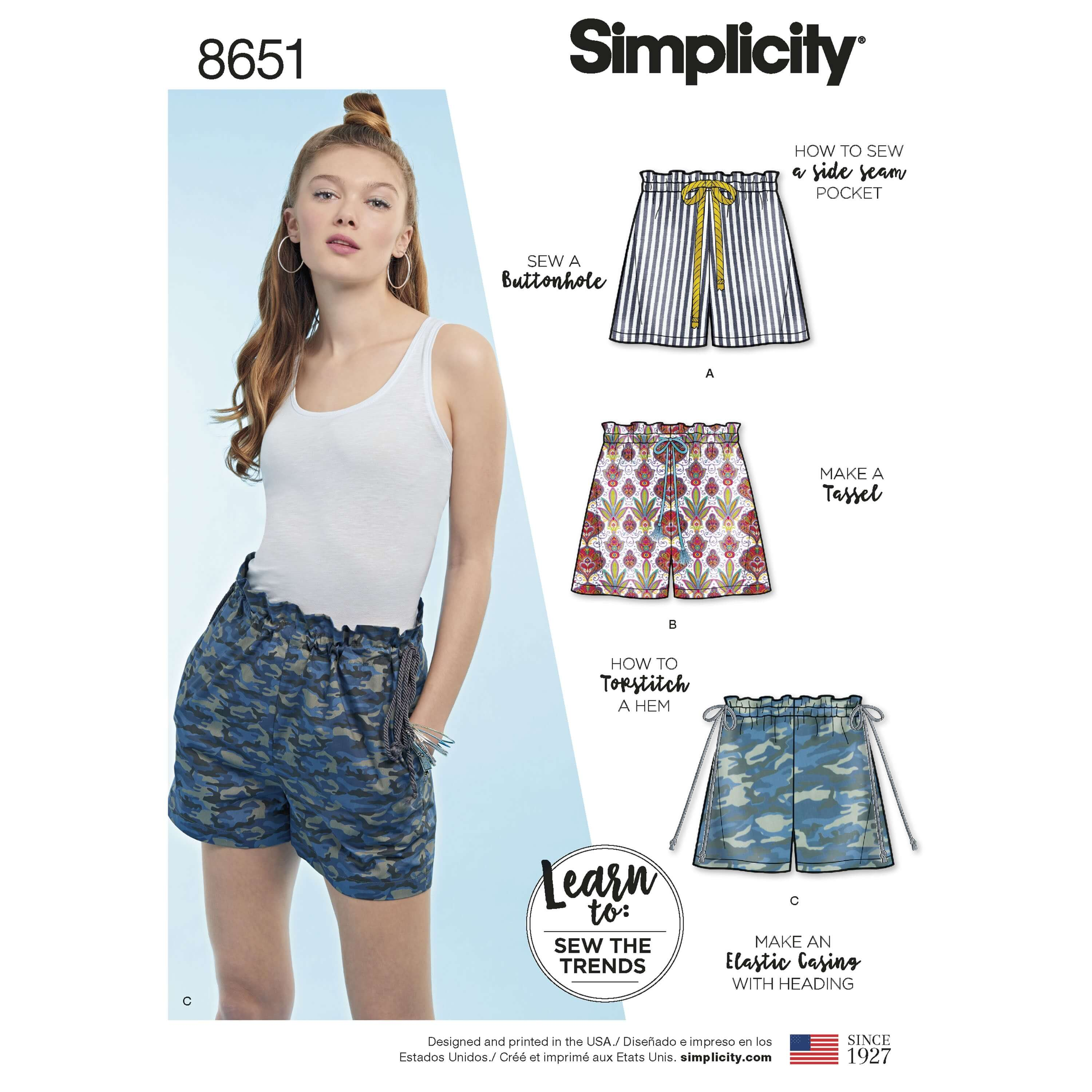 Simplicity Sewing Pattern 8651 Learn to Sew Pull on Shorts