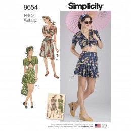 Simplicity Sewing Pattern 8654 Women's Vintage 40s Skirt, Shorts & Tie Top
