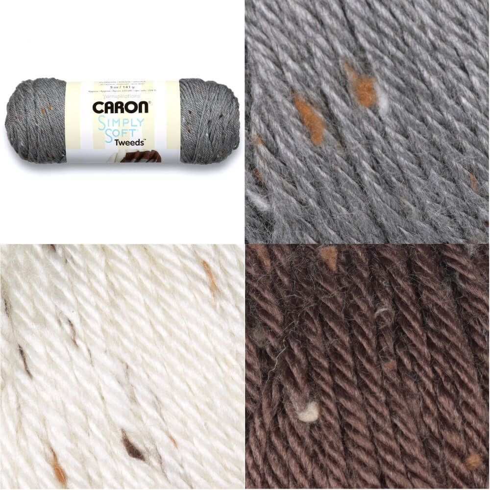 Off White Caron Simply Soft Tweeds 141g Ball