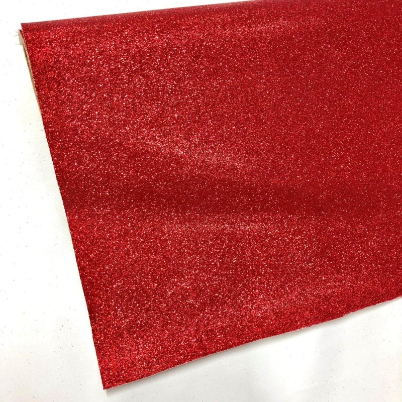 Fine Glitter Fabric Sparkly Vinyl Backed Material Decor 01 Crimson