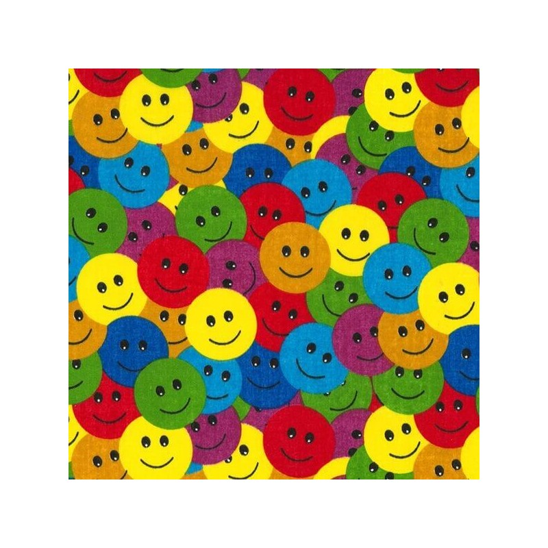 Polycotton Fabric Multi Coloured Smiley Faces Happy Smiles Craft Material