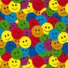 Polycotton Fabric Multi Coloured Smile Faces Happy Smiles Craft Material
