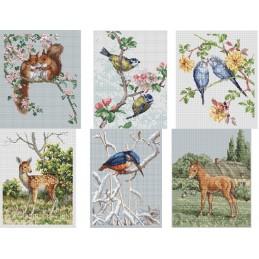 The Natural World Cross Stitch Kit Noel Hubert Hopking Wildlife Animals Bird