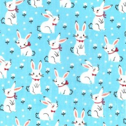 Polycotton Fabric Bunnies With Bows Floral Flower Bunny Rabbit Craft Material Blue