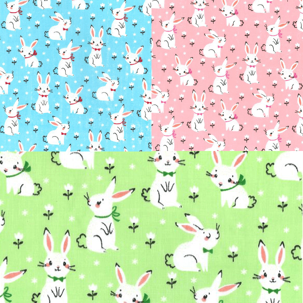 Polycotton Fabric Bunnies With Bows Floral Flower Bunny Rabbit Craft Material Mint