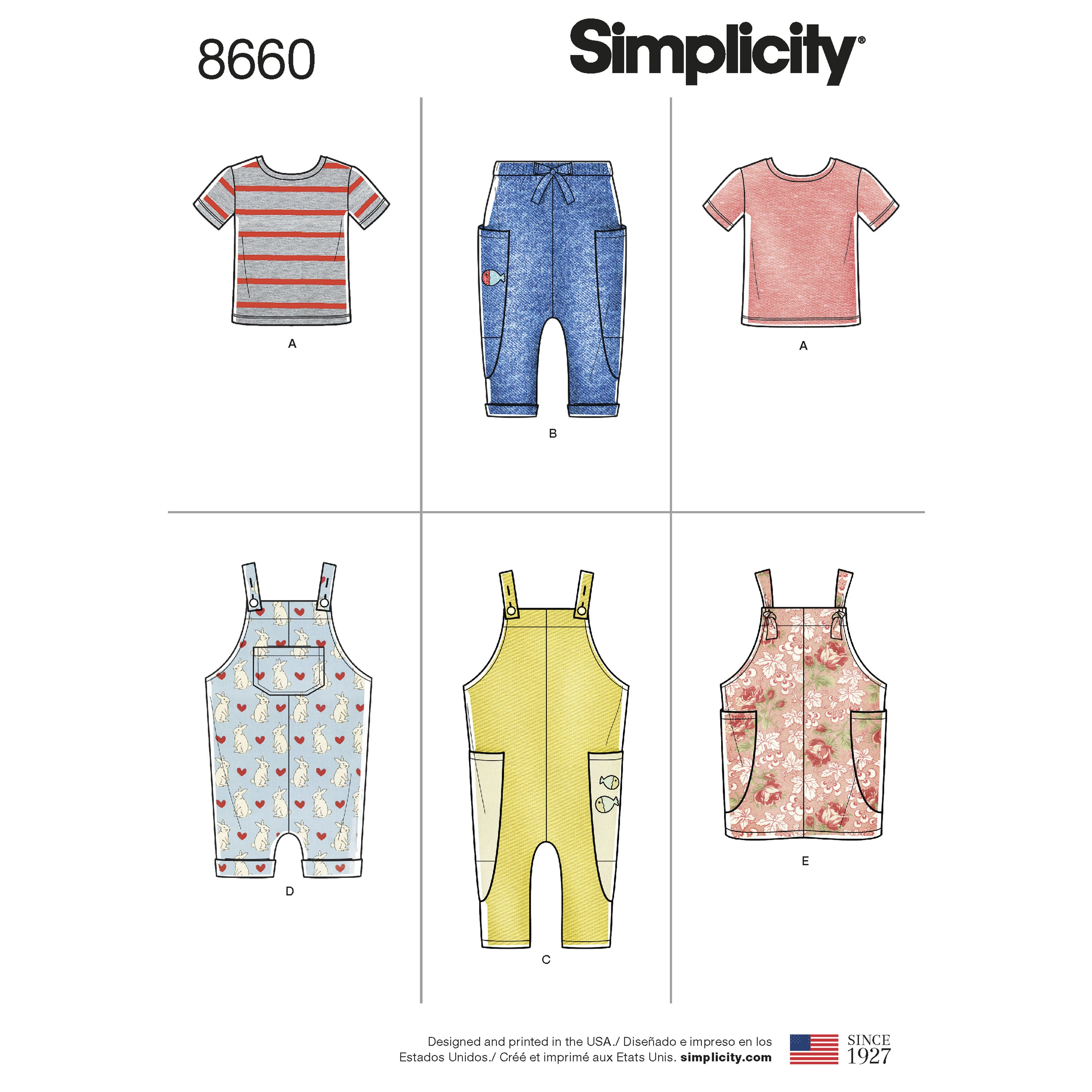 Simplicity Sewing Pattern 8660 Toddlers' Knit Top, Trousers, Jumper & Dungarees