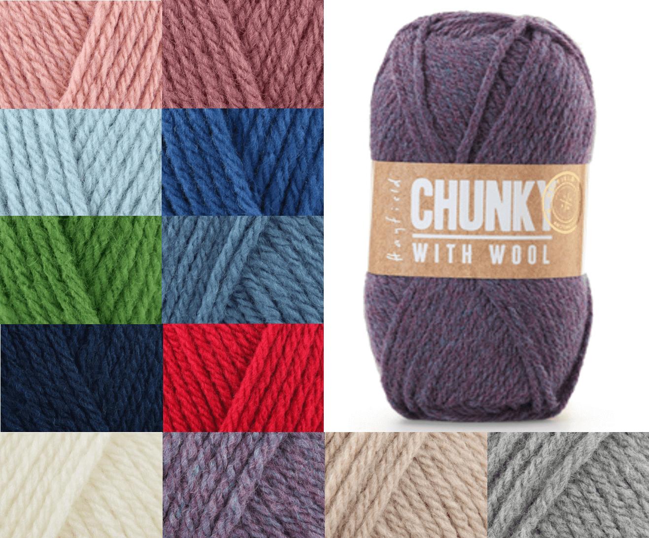 Sirdar Hayfield Chunky With Wool 100g Ball Knitting Crochet Knit Craft Yarn 116 Crisp Blue