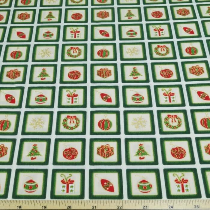 Christmas Presents Decorations Squares 100% Cotton Poplin Fabric