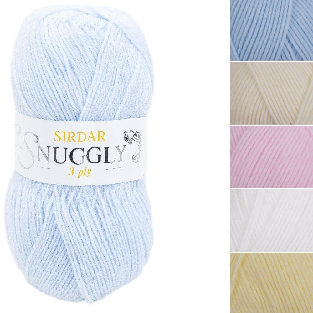 Sirdar Snuggly 3 Ply Baby Soft Knitting Knit Crochet Crafts 50g Ball White