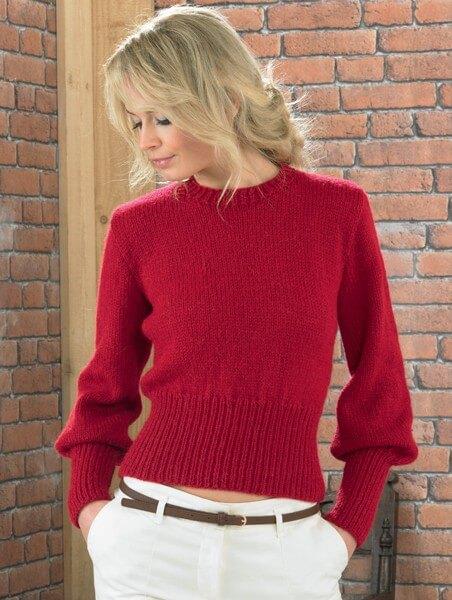 Knitting Pattern James C Brett JB222 Cuffed Smart Jumper