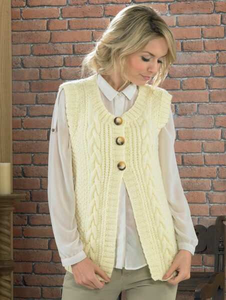 Knitting Pattern James C Brett JB225 Aran Sleeveless Cardigan