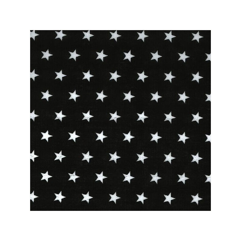 Polycotton Fabric 10mm Stars In Rows Magic Starry Craft Material Black