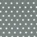Polycotton Fabric 10mm Stars In Rows Magic Starry Craft Material Grey