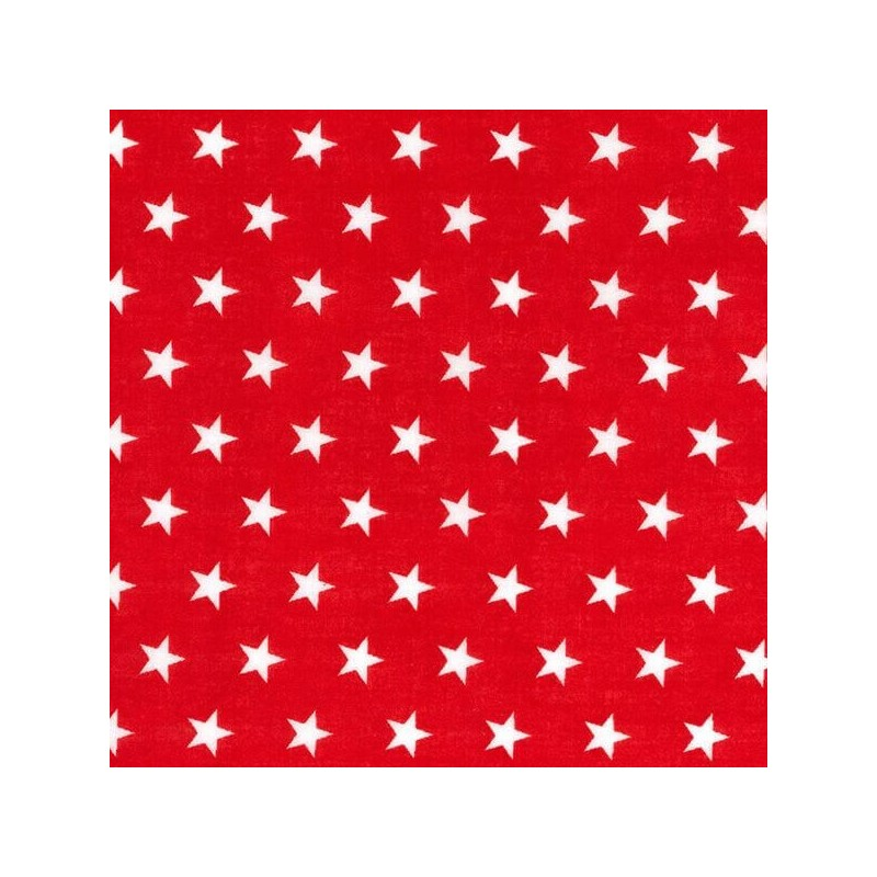 Polycotton Fabric 10mm Stars In Rows Magic Starry Craft Material Red