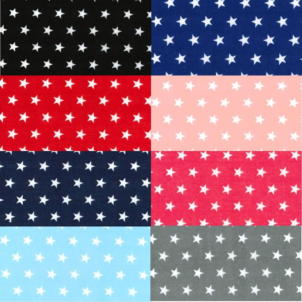 Polycotton Fabric 10mm Stars In Rows Magic Starry Craft Material Blue