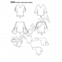 Simplicity Sewing Pattern 8694 Misses Tops Blouses with Flounce Sleeves