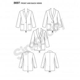 Simplicity Sewing Pattern 8697 Misses & Plus Size Boyfriend Blazers Jackets
