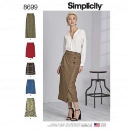 Simplicity Sewing Pattern 8699 Misses Button Wrap Front Skirts