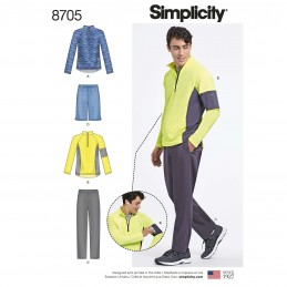 Simplicity Sewing Pattern 8705 Men's Gym Sportswear Separates Athleisure