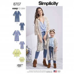 Simplicity Sewing Pattern 8707 Mother & Daughter Kimono Cardigans