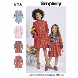 Simplicity Sewing Pattern 8708 Child & Girl's Trimmed Dresses