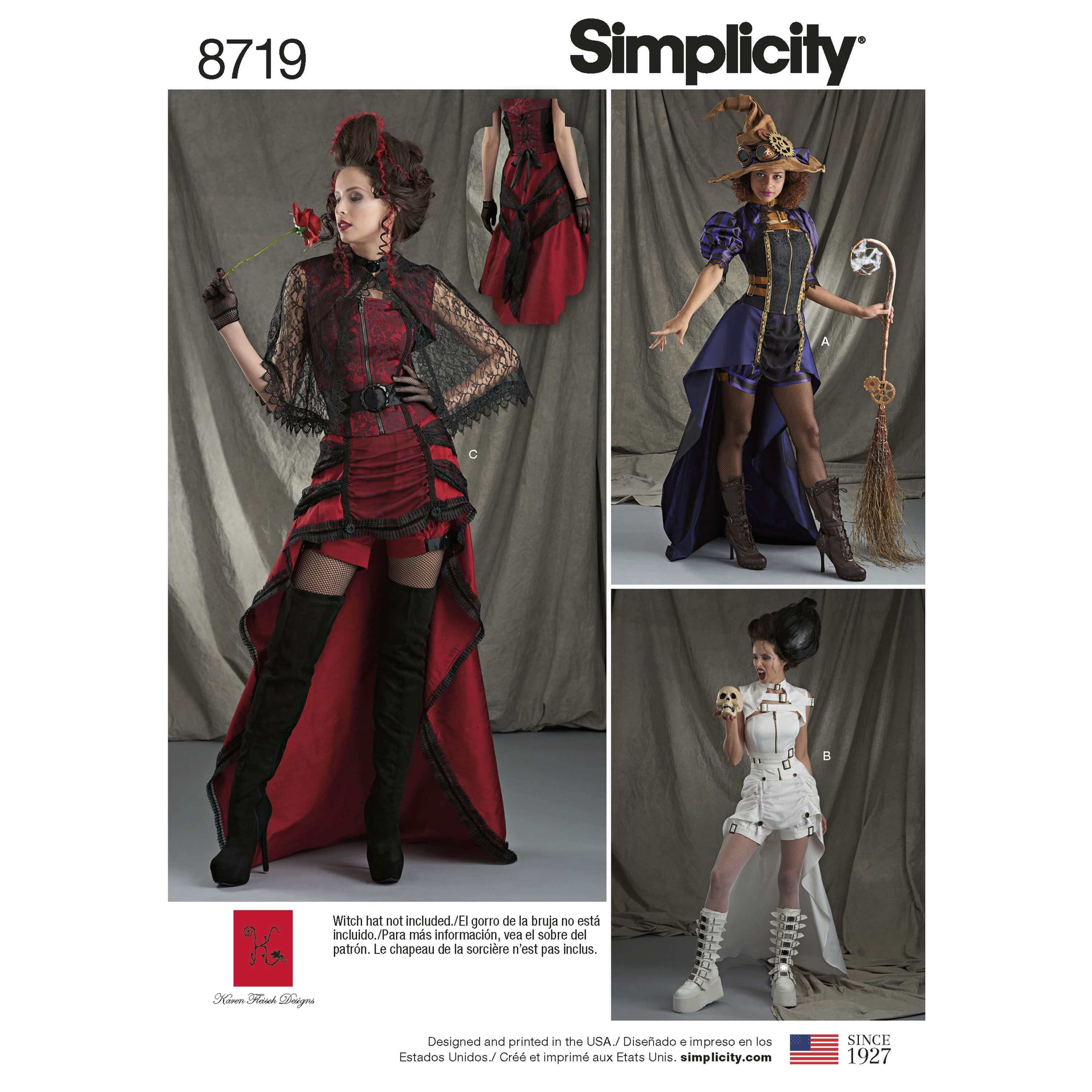 Simplicity Sewing Pattern 8719 Misses Steampunk Halloween Costumes