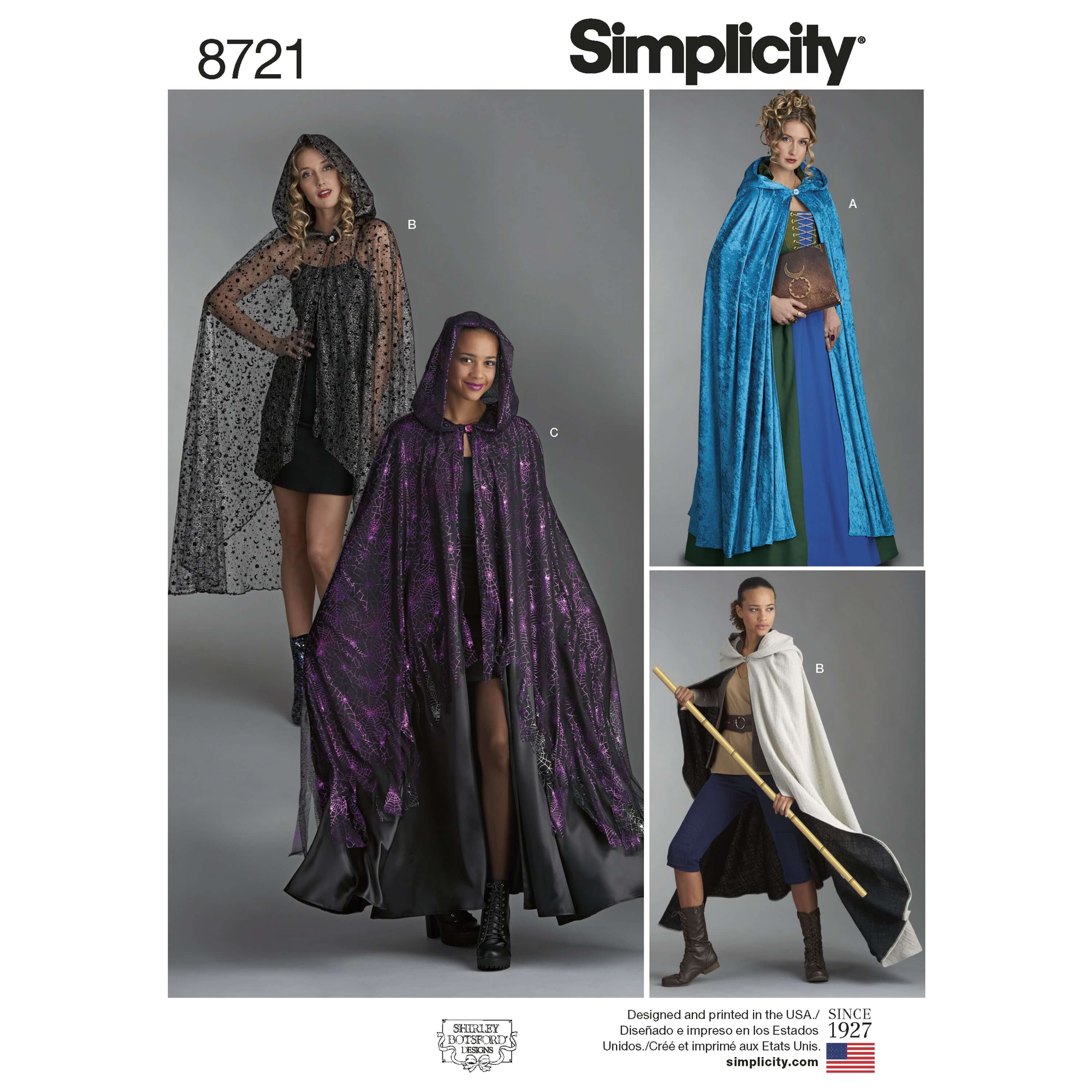 Simplicity Sewing Pattern 8721 Misses Costume Capes & Cloaks