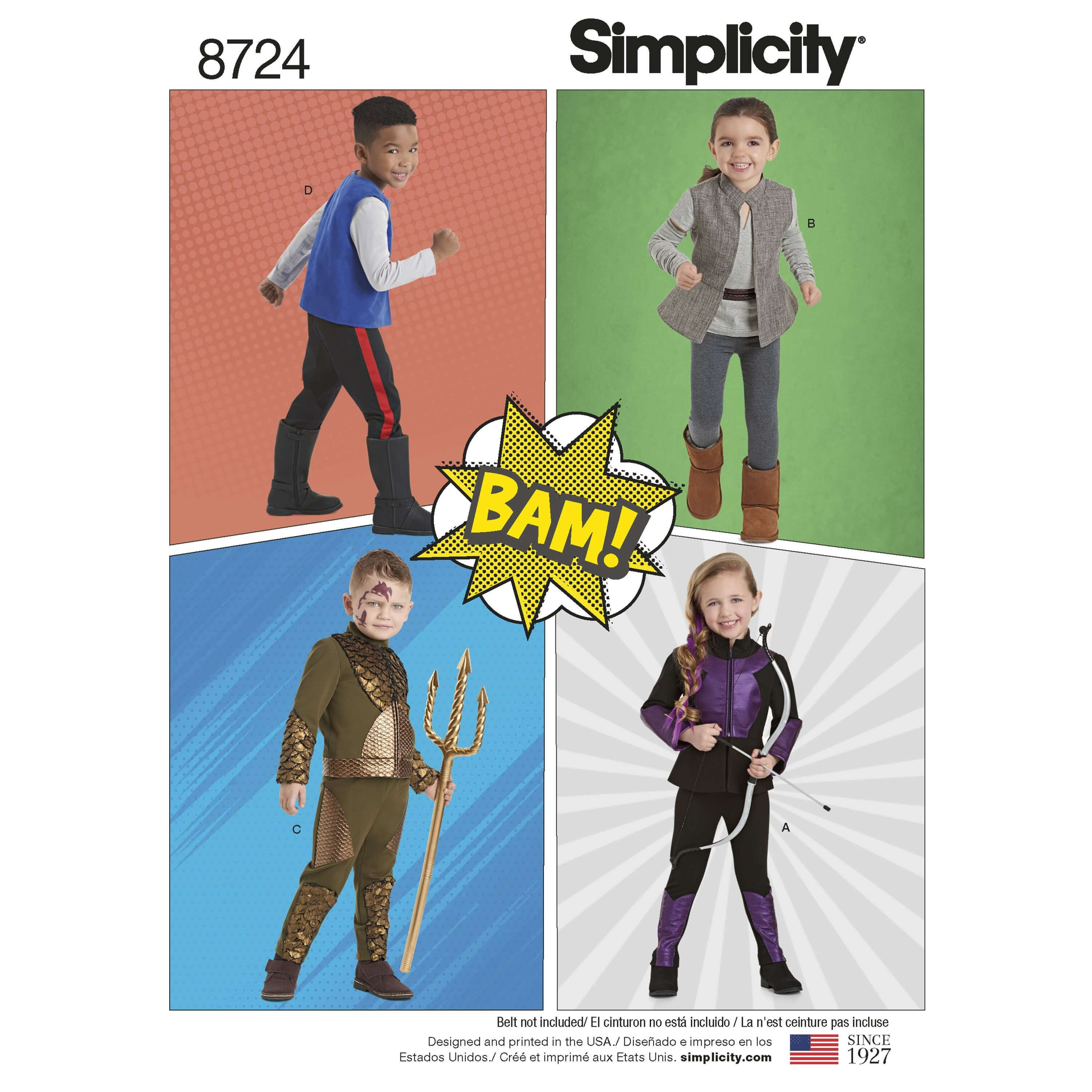 Simplicity Sewing Pattern 8724 Children's Adventure Character Costumes