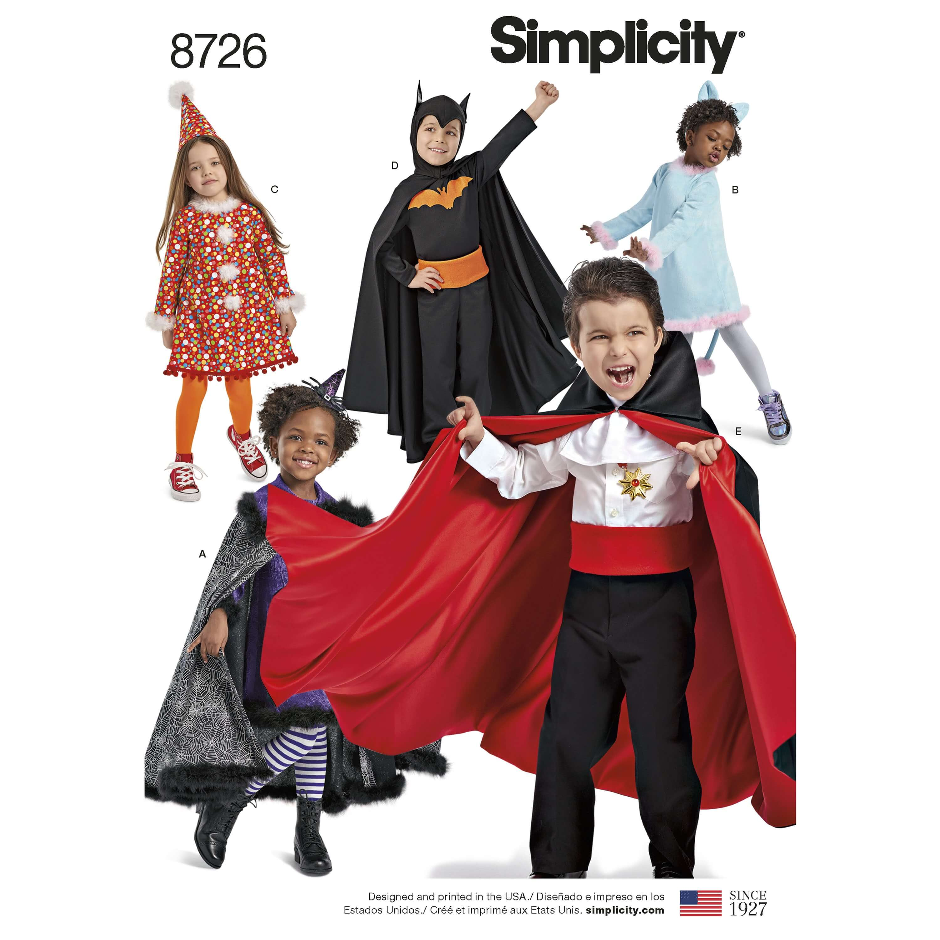 Simplicity Sewing Pattern 8726 Children's Classic Halloween Costumes