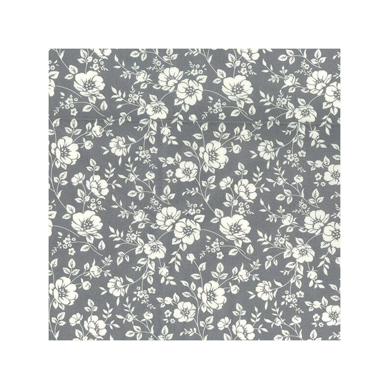 Grey Ivory 100% Cotton Poplin Fabric Rose & Hubble White Blooming Flowers