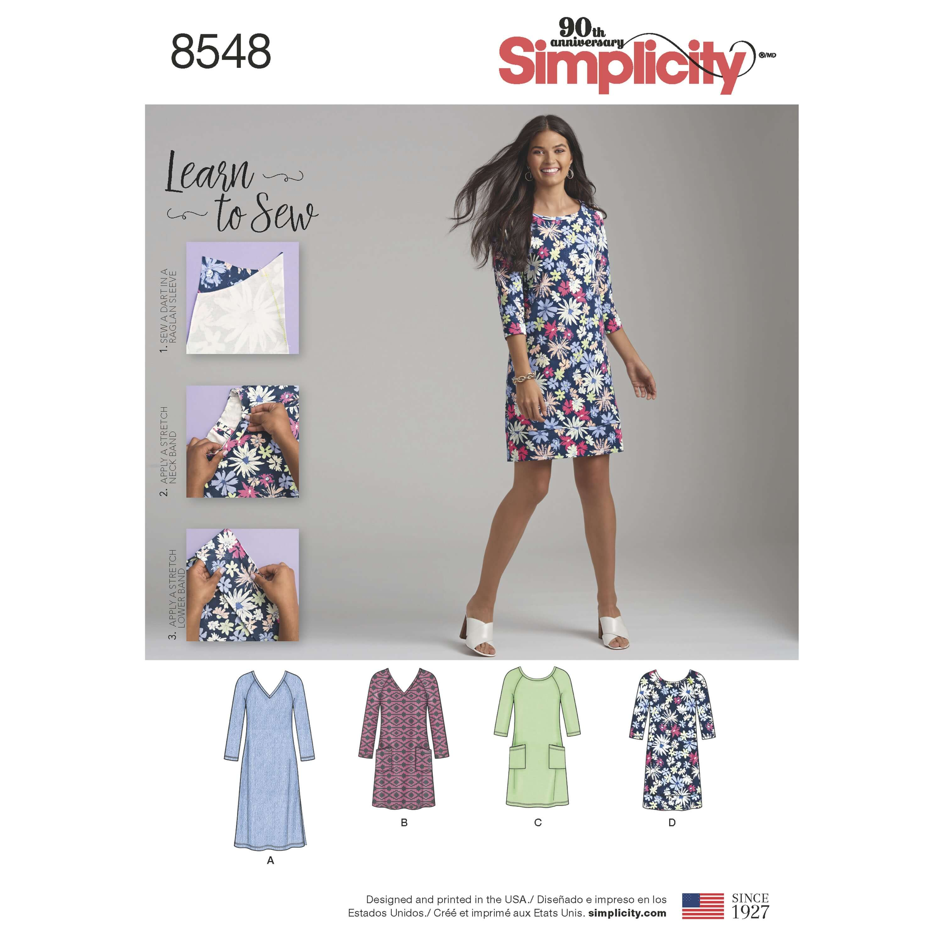 Simplicity Sewing Pattern 8548 Misses Learn to Sew Knit Shift Dress