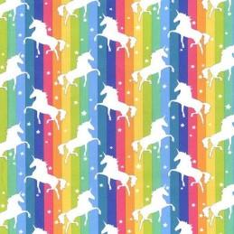 Brights 100% Cotton Poplin Fabric Rose & Hubble Unicorns Dancing