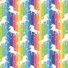 100% Cotton Poplin Fabric Rose & Hubble Unicorns Dancing On Rainbow Stripes