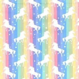 Pastel 100% Cotton Poplin Fabric Rose & Hubble Unicorns Dancing