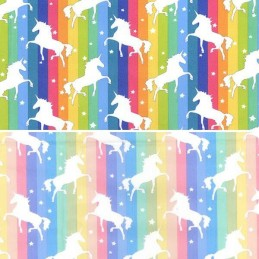 100% Cotton Poplin Fabric Rose & Hubble Unicorns Dancing