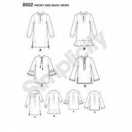 Simplicity Sewing Pattern 8552 Misses Mini Dresses & Tunics with Variations