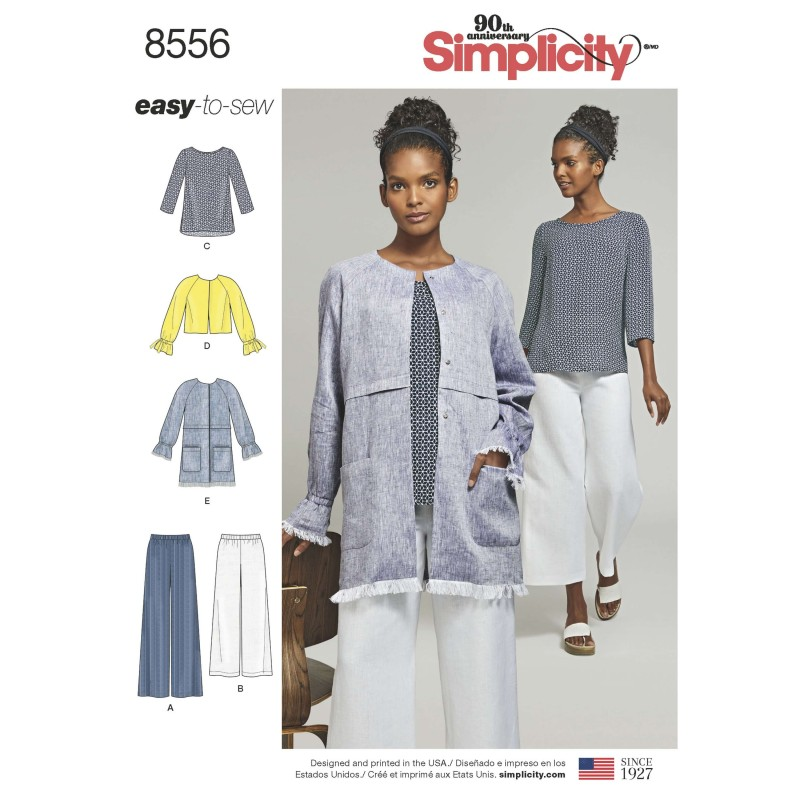 Simplicity Sewing Pattern 8556 Misses Easy to Sew Separates Top Jacket Trousers