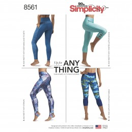 Simplicity Sewing Pattern 8561 Misses Knit Leggings Gym Workout Clothes