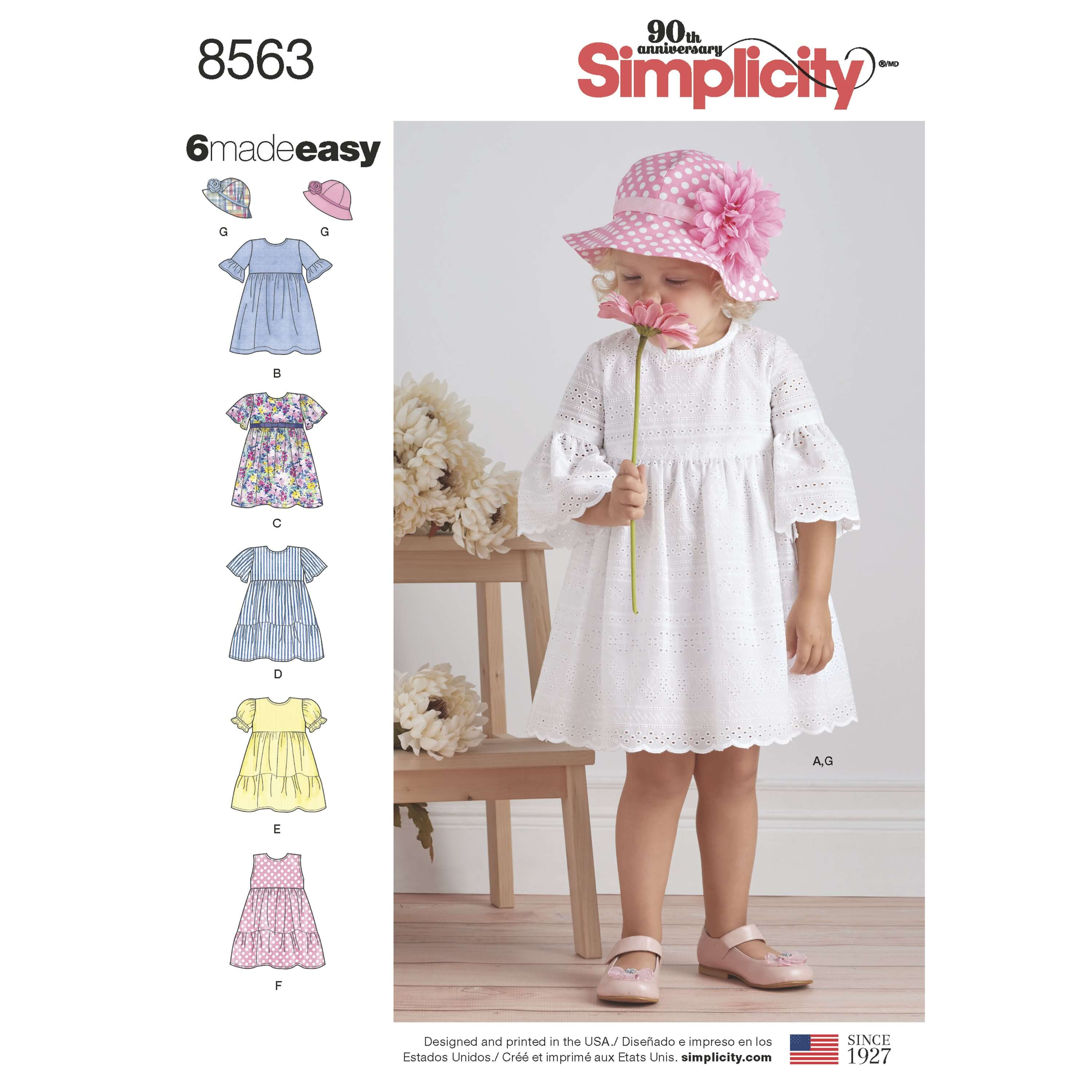 Simplicity Sewing Pattern 8563 Toddler Summer Dresses and Hats