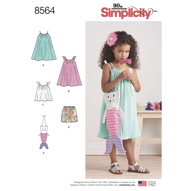 Simplicity Sewing Pattern 8564 Toddler Dress, Top, Shorts & Bag