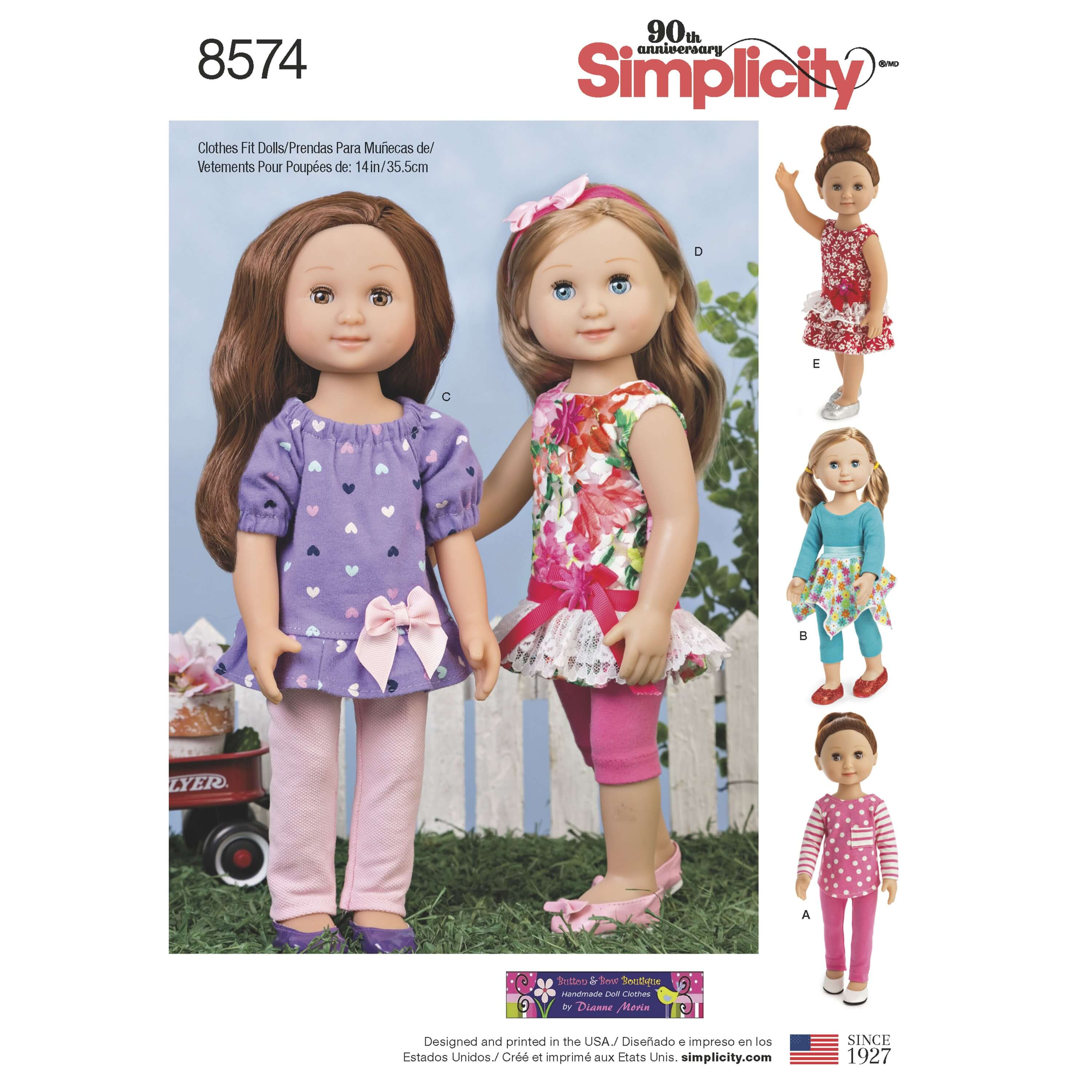 Simplicity Sewing Pattern 8574 14 Inch Doll Casual Clothes Separates