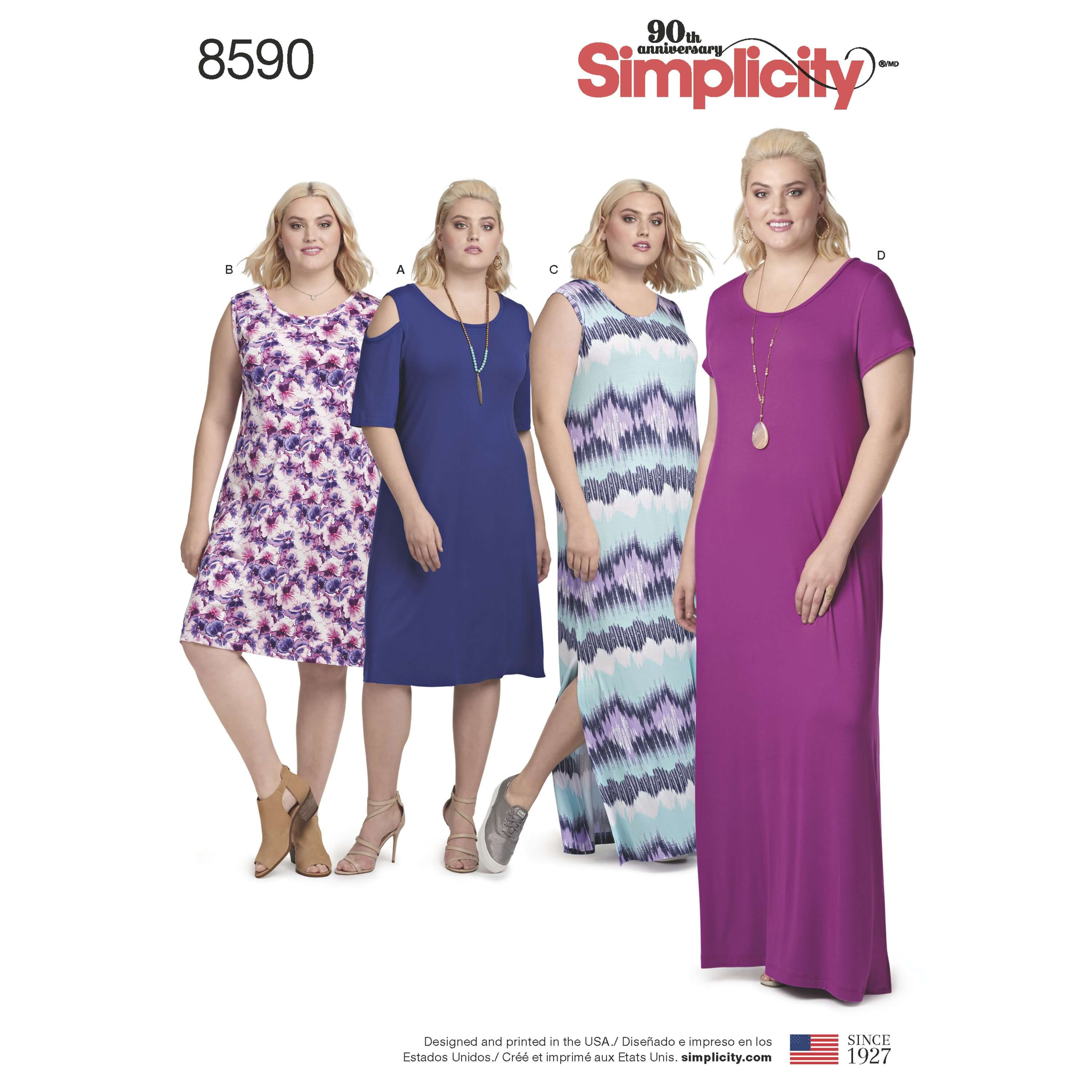 Simplicity Sewing Pattern 8590 Women's Plus Size Easy to Sew Knit Dresses