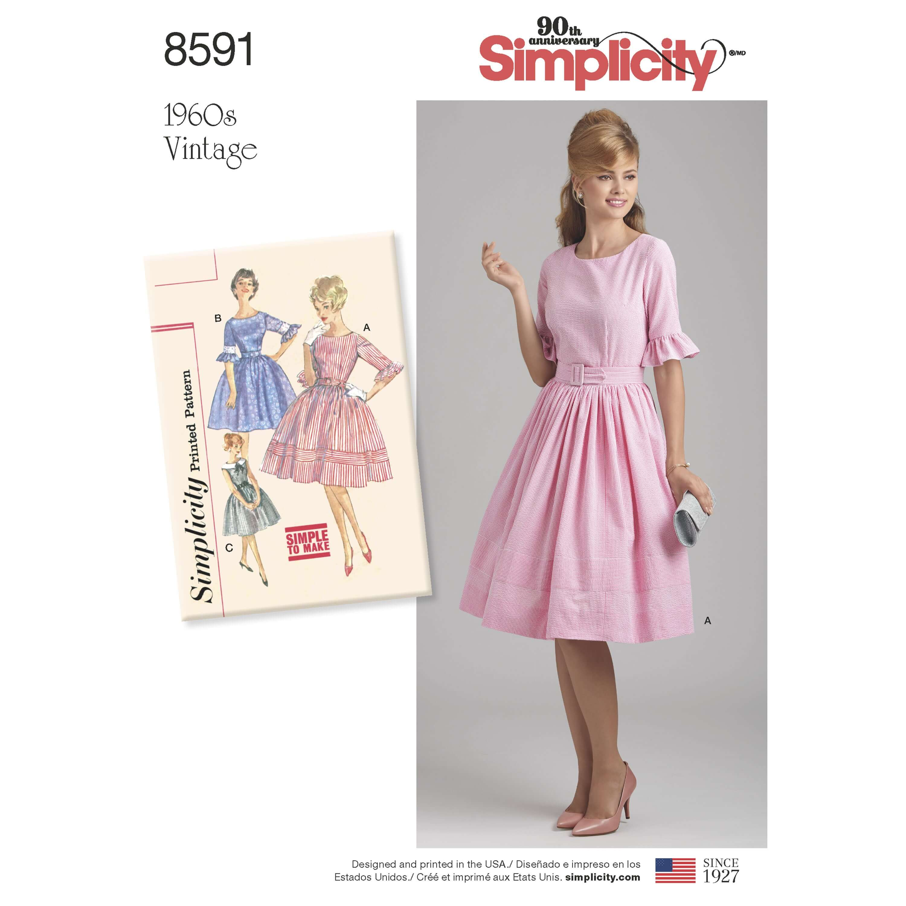 Simplicity Sewing Pattern 8591 Women's and Petite Vintage 1960s Dress