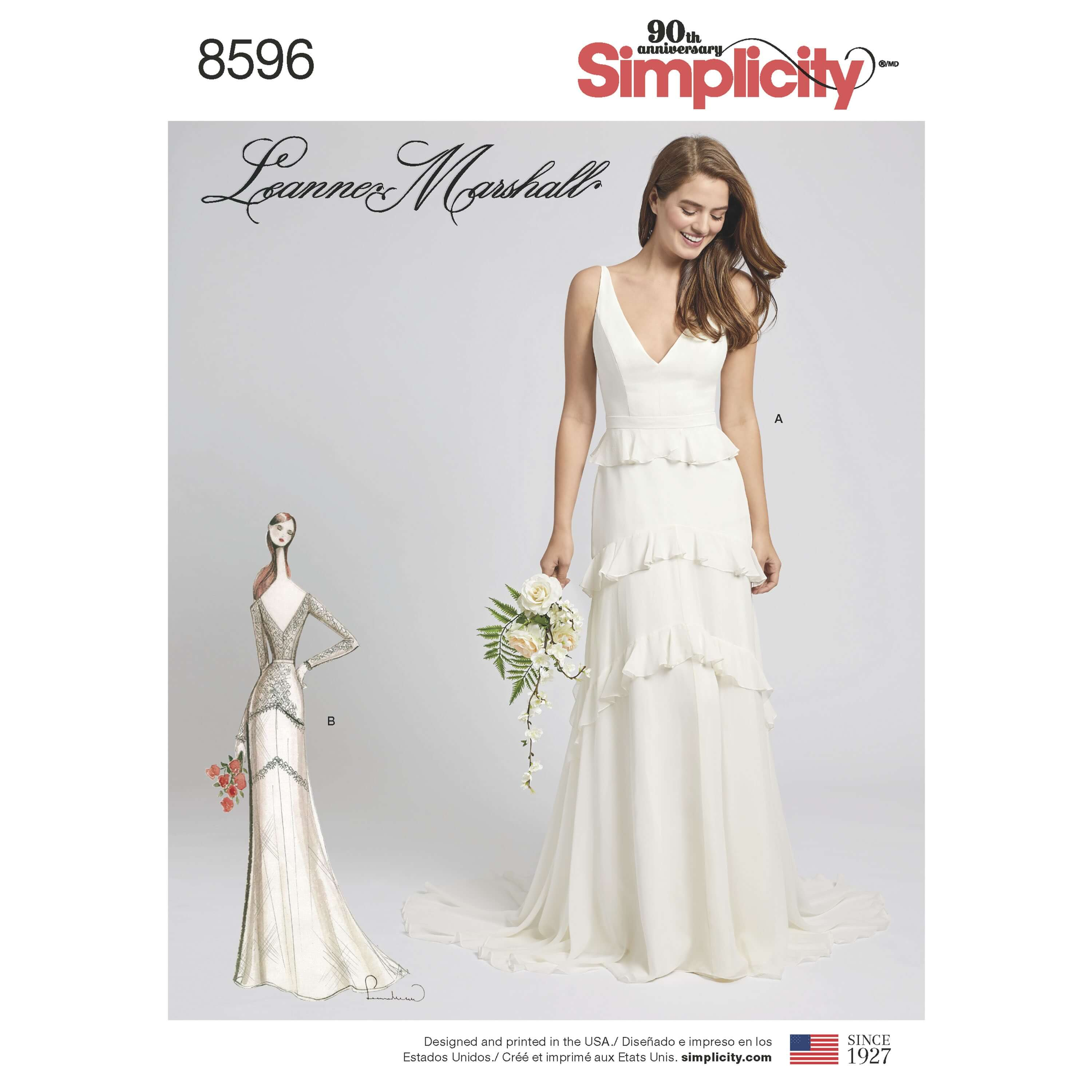 Simplicity Sewing Pattern 8596 Women's Wedding or Occasion Gown Dress