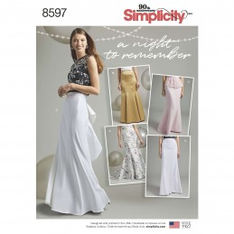 Simplicity Sewing Pattern 8597 Women's Special Occasion Full Length Skirts