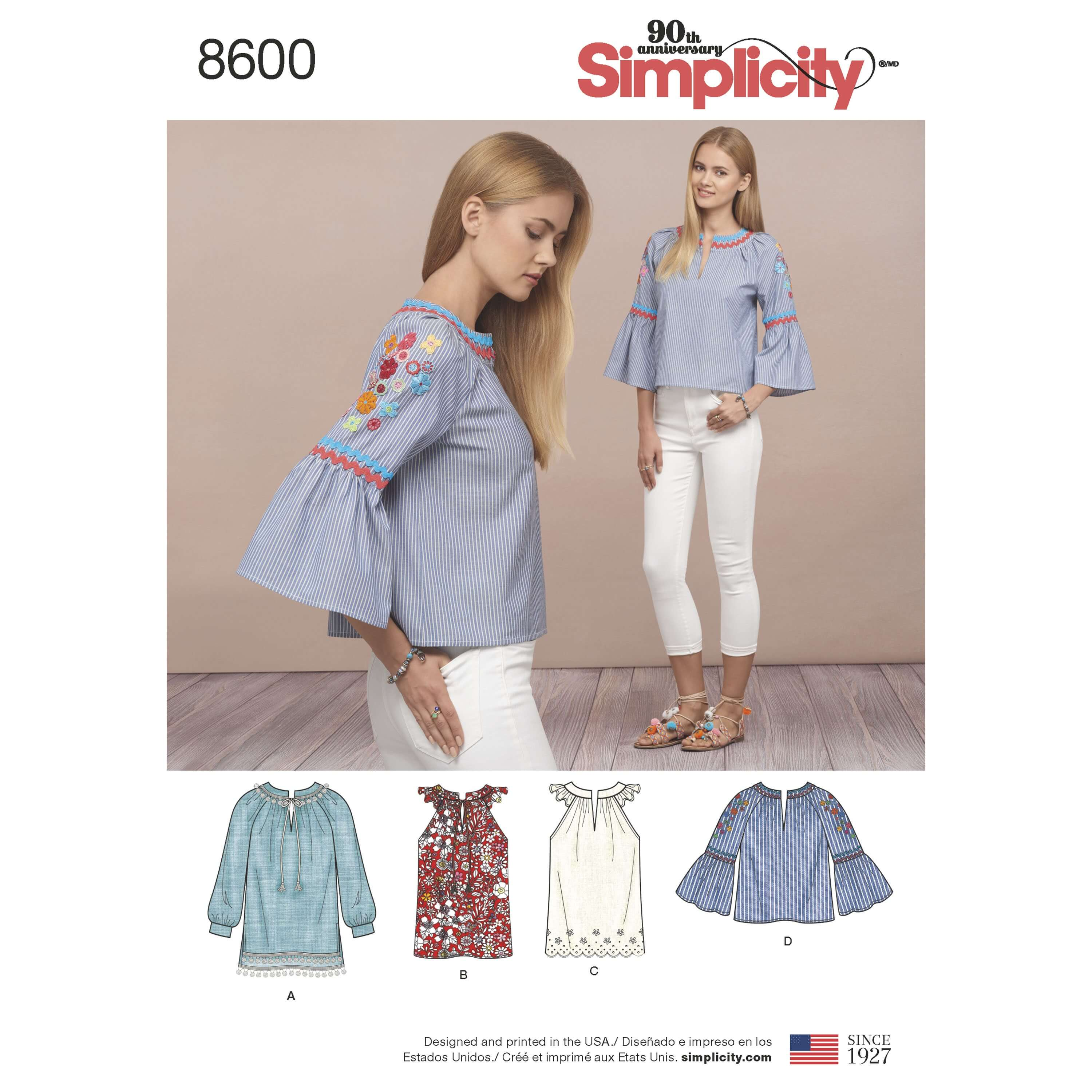 Simplicity Sewing Pattern 8600 Women's Boho Pullover Casual Tops