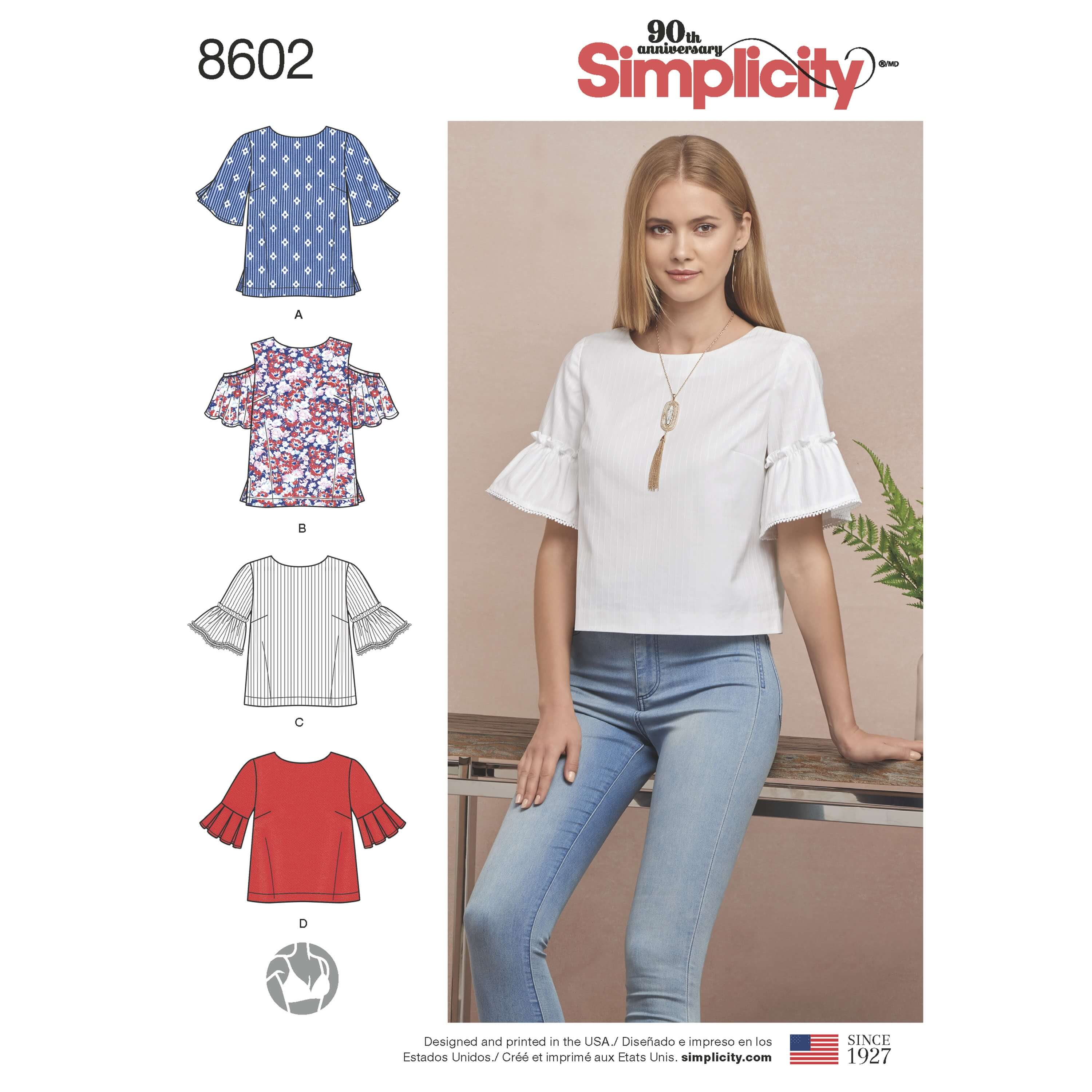 Simplicity Sewing Pattern 8602 Women's Everyday Shell Tops with Flared Sleeves