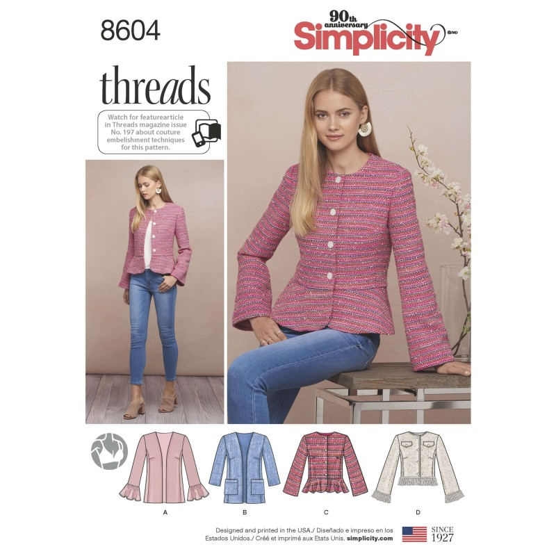Simplicity Sewing Pattern 8604 Women's Peplum Lined Jackets Coats