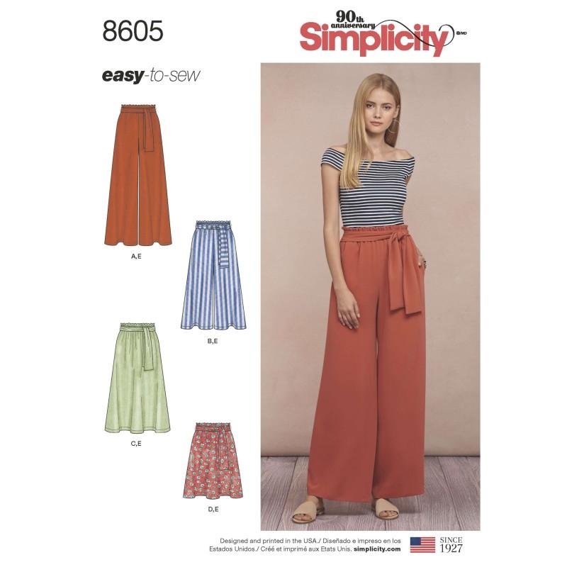 Simplicity Sewing Pattern 8605 Women's Wide Leg Paper Bag Trousers